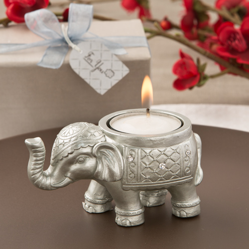 Good Luck Silver Indian Elephant Candle Holder Wedding Favors Fc