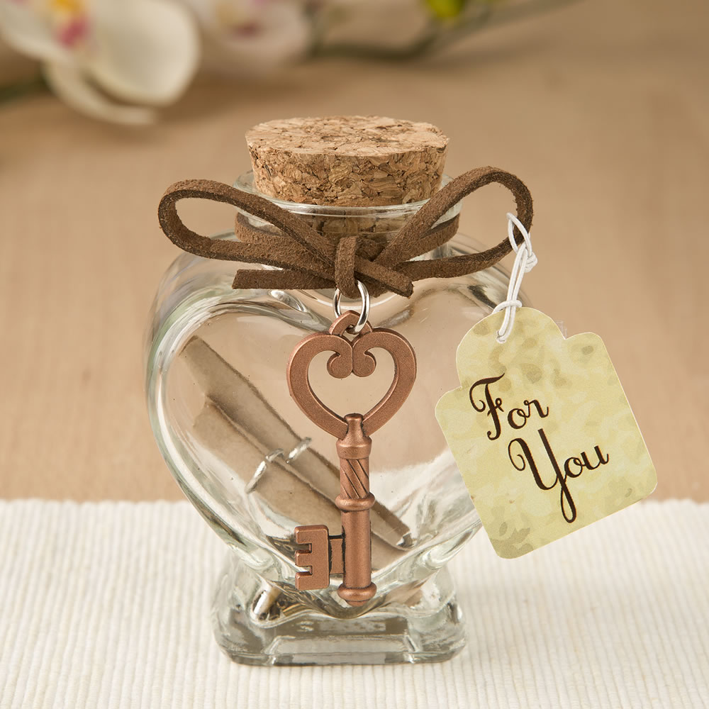 Glass heart message Jar with copper metal key accent - Wedding ...